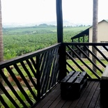 Used pallet furniture robust enough to put your feet up on the deck to enjoy the view at Nabana Lodge