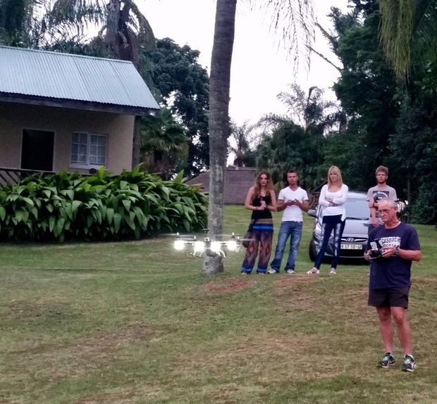 Flying a drone at Nabana Lodge, entertaining guests