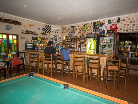 Sport and pub  memoriabelia in the Sportmans Pub at Nabana Lodge, also stocking fishing tackle for the avid bass angler