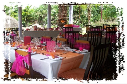 Wedding set up in cerise and orange at Nabana Lodge