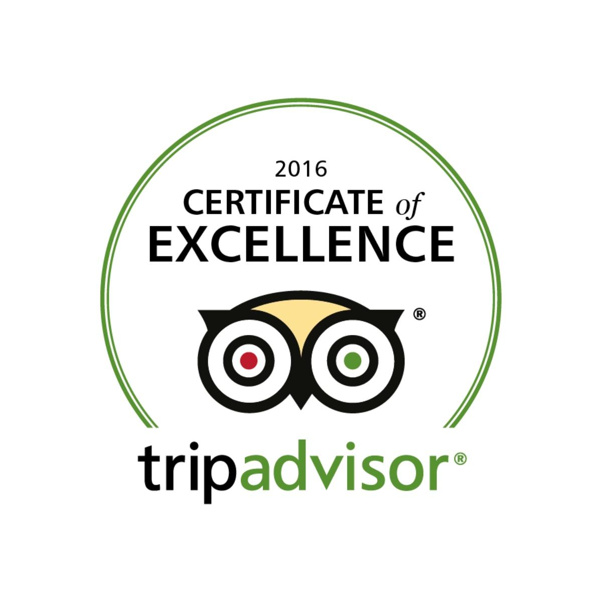 Tripadvisor Certificate Of Excellence 2016