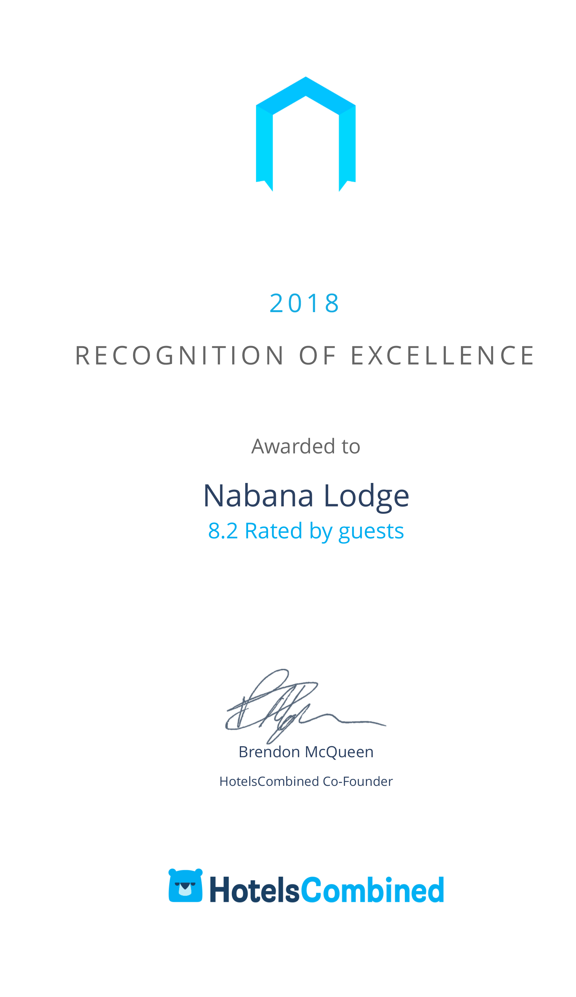 Recognition of Excellence awarded to Nabana Lodge - SA